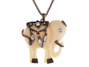 Vintage Cream Ivory Indian Elephant Art Pendant Necklace