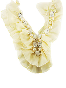Sheer Ivory Cream Fabric Mesh Pearl Bead Crochet Ribbbon Necklace