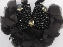 Load image into Gallery viewer, Black Mesh Dahlia Ruffle Flower Petals Bead Dangle Chain Bib Necklace