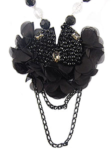 Black Mesh Dahlia Ruffle Flower Petals Bead Dangle Chain Bib Necklace