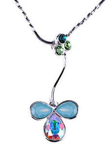 Pacific Opal Green Flower Abstract Pendant Necklace