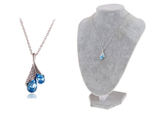 Blue Sapphire Shell Blossom Drop Pendant Necklace