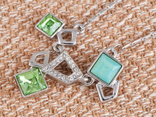 Load image into Gallery viewer, Swarovski Crystal Fun Green Opal Geometric Square Shapes Pendant Necklace