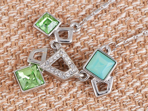 Swarovski Crystal Fun Green Opal Geometric Square Shapes Pendant Necklace