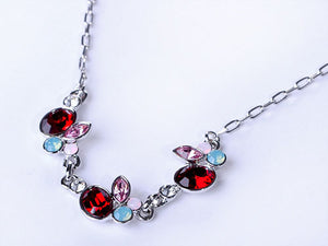Petite Ruby Red Lite Rose Pink Apple Fruit Necklace