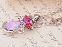 Load image into Gallery viewer, Swarovski Crystal Hot Fuchsia Pink Opal Bow Tie Siam Kitty Cat Pendant Necklace