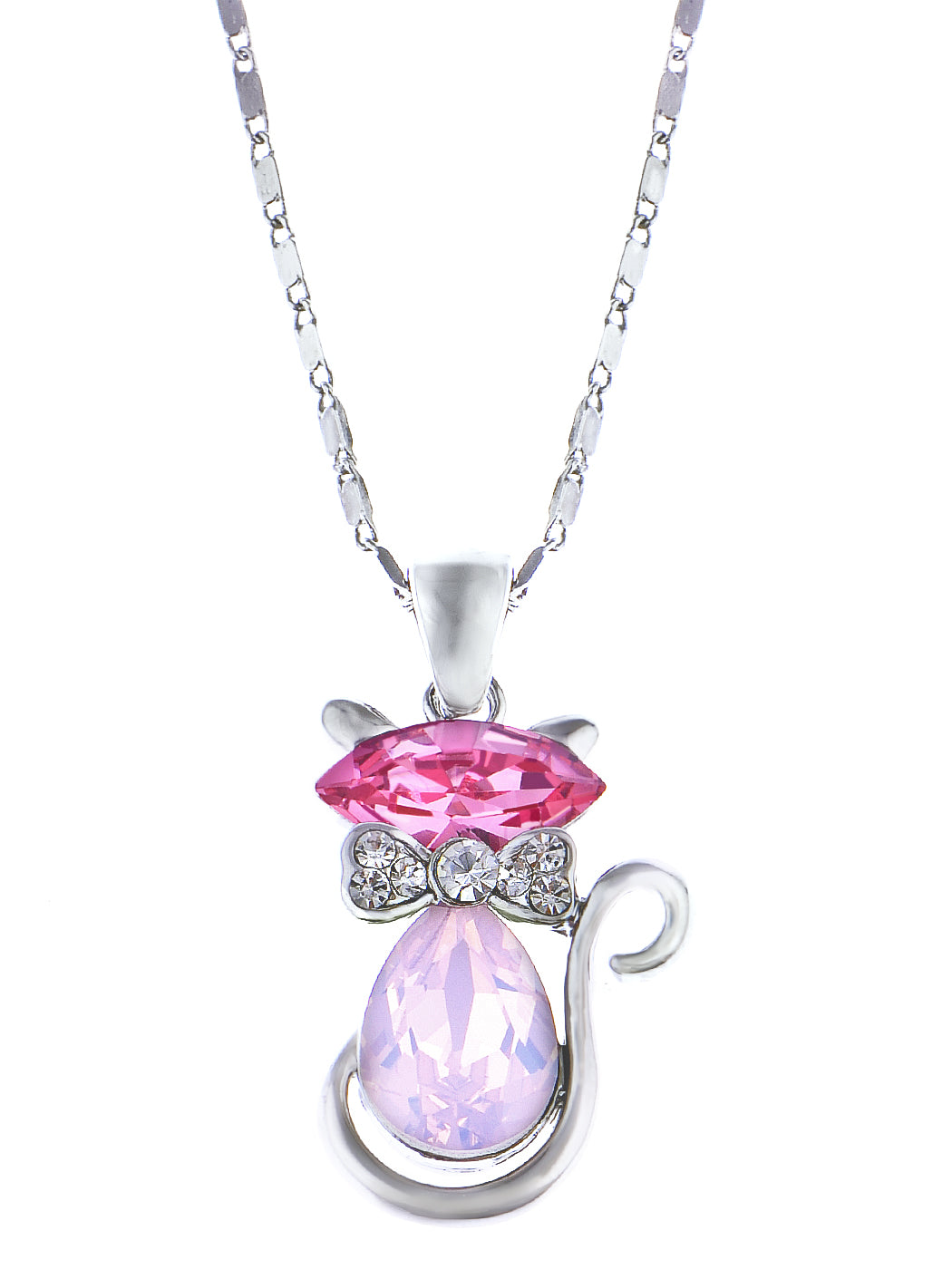 Swarovski Crystal Hot Fuchsia Pink Opal Bow Tie Siam Kitty Cat Pendant Necklace