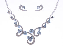 Load image into Gallery viewer, Swarovski Crystal Black Pearl Swirl Bridal Necklace Earring Set