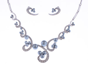 Swarovski Crystal Black Pearl Swirl Bridal Necklace Earring Set