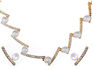 White Pearl Ice Necklace Earring Set