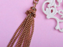 Load image into Gallery viewer, Coral Rose Flower Floral Filigree Heart Tassel Vintage Look Necklace