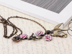 Antique Hand Painted Pink Cherry Blossom Flower Enamel Black Sparrow Birds Necklace