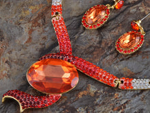 Load image into Gallery viewer, Ruby Red Snake Dangle Earring Necklace Jewelry Set