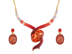 Ruby Red Snake Dangle Earring Necklace Jewelry Set