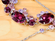 Load image into Gallery viewer, Swarovski Crystal Silver Purple Victorian Grape Necklace Earrings Set