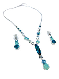 Swarovski crystals Dangle Earring Necklace Jewelry Set