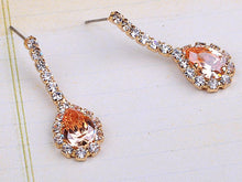 Load image into Gallery viewer, Swarovski Crystal Princess Topaz Yellow Tear Dangle Earring Necklace Jewelry Set