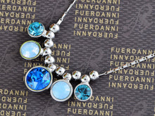 Load image into Gallery viewer, Swarovski Crystal Blue Milk Opal Zircon Bead Spotlights Dangle Necklace Jewelry