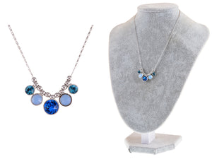 Swarovski Crystal Blue Milk Opal Zircon Bead Spotlights Dangle Necklace Jewelry