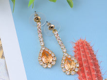 Load image into Gallery viewer, Swarovski Crystal June Topaz Loop Flower Dangle Earring Necklace Set