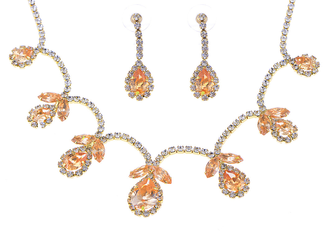 Swarovski Crystal June Topaz Loop Flower Dangle Earring Necklace Set