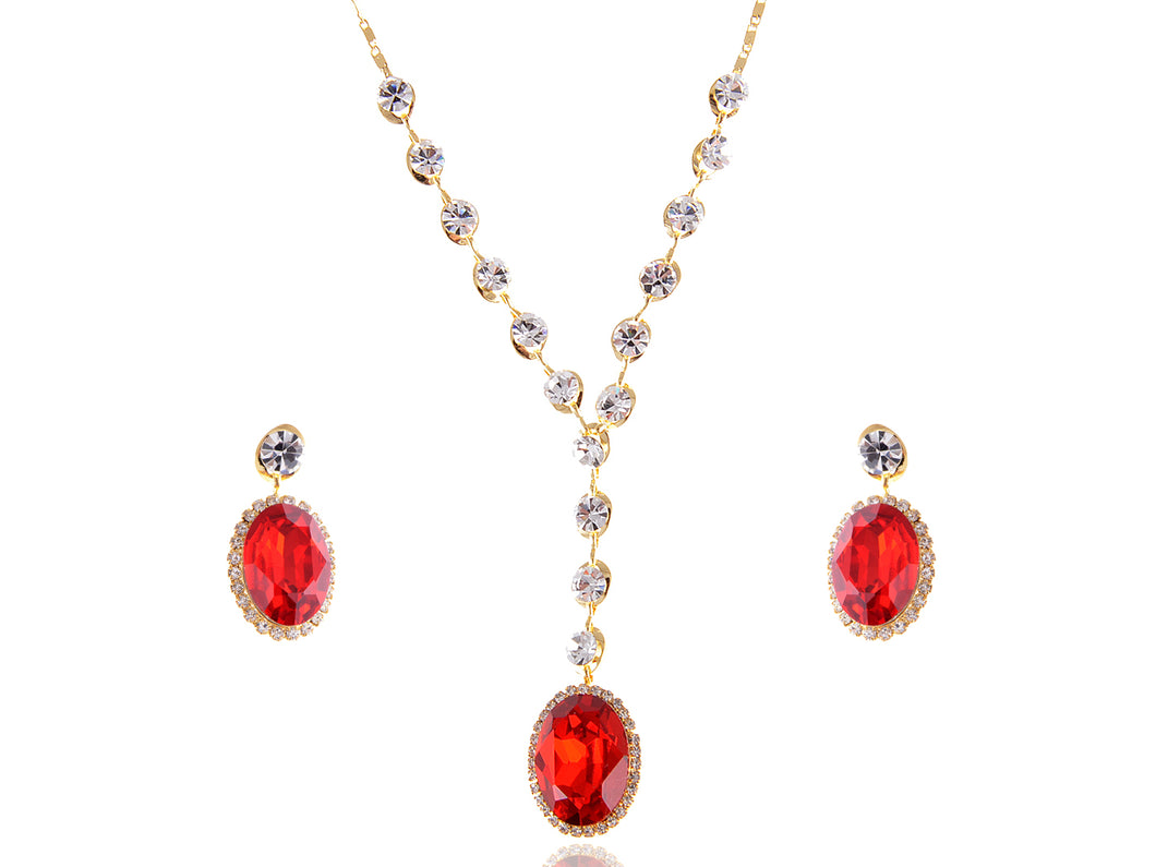Swarovski Crystal Rhinestone Earring Necklace Jewelry Set