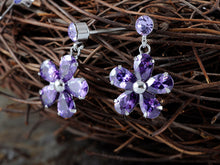 Load image into Gallery viewer, Purple Daisy Girl Princess Flower Earring Necklace Jewelry Set