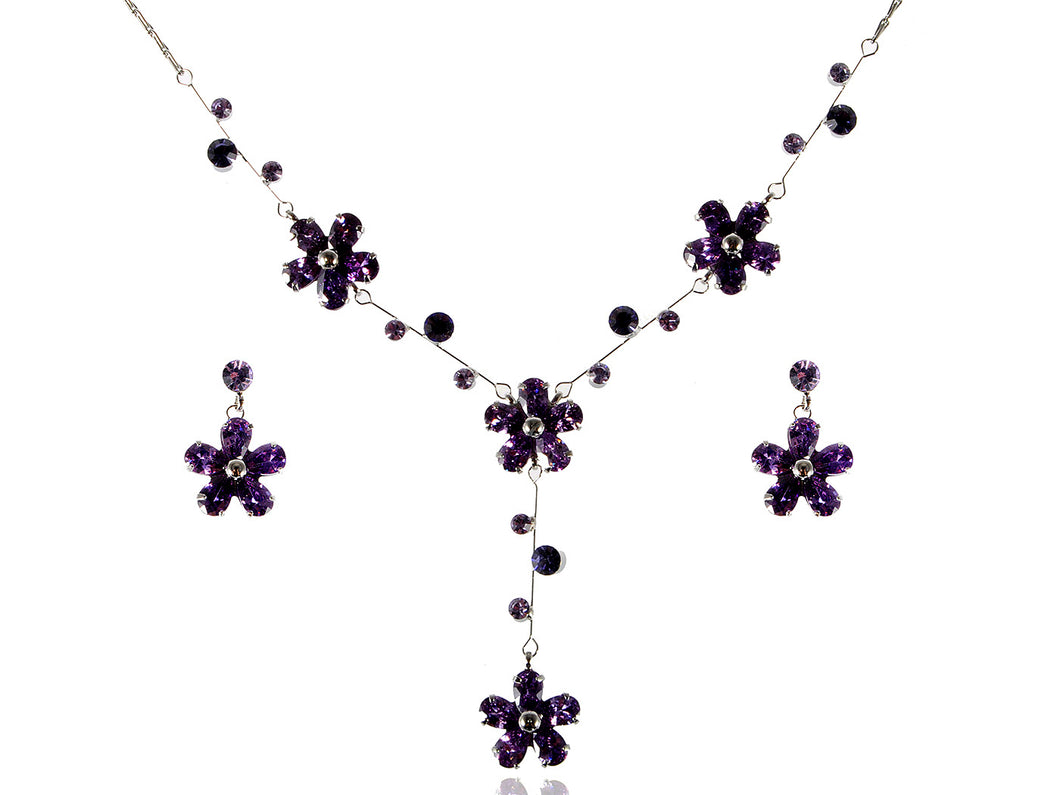 Purple Daisy Girl Princess Flower Earring Necklace Jewelry Set