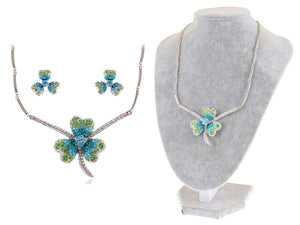 Swarovski Crystal Lucky Blue Green Irish Clover Earring Necklace Set