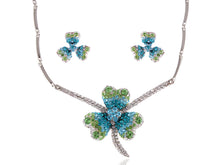 Load image into Gallery viewer, Swarovski Crystal Lucky Blue Green Irish Clover Earring Necklace Set