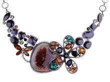Load image into Gallery viewer, Swarovski Crystal Dark Bohemian Amethyst Se Flower Petal Crest Necklace