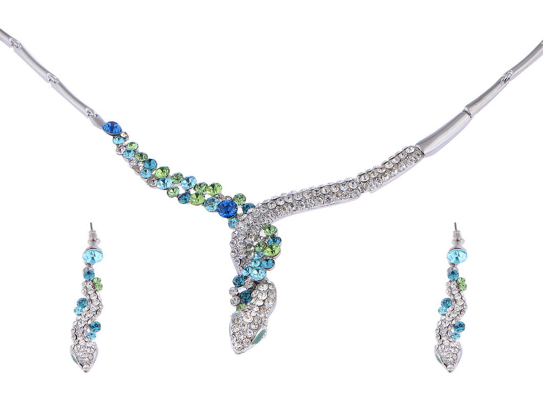 Swarovski Crystal Lime Green Blue Burst Snake Coil Dangle Earring Necklace Set