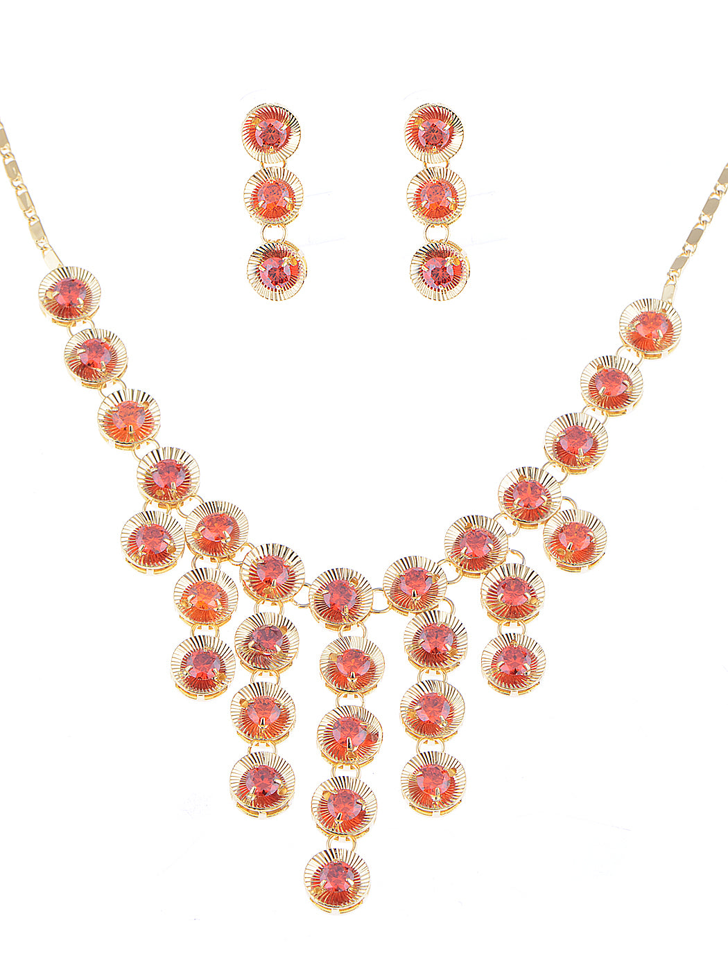 Swarovski Crystal Ruby Red 1960S Cascade Necklace Earring Set