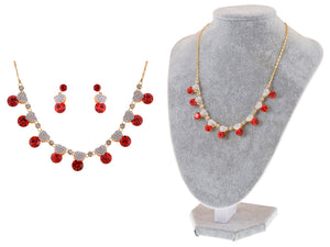 Swarovski Crystal Valentine Ruby Red Love Heart Necklace Earring Set