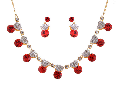 Valentine Ruby Red Love Heart Necklace Earring Set