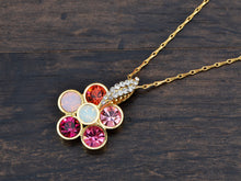 Load image into Gallery viewer, Swarovski Crystal Multi Color Pink Opal Flower Petal Pendant Necklace