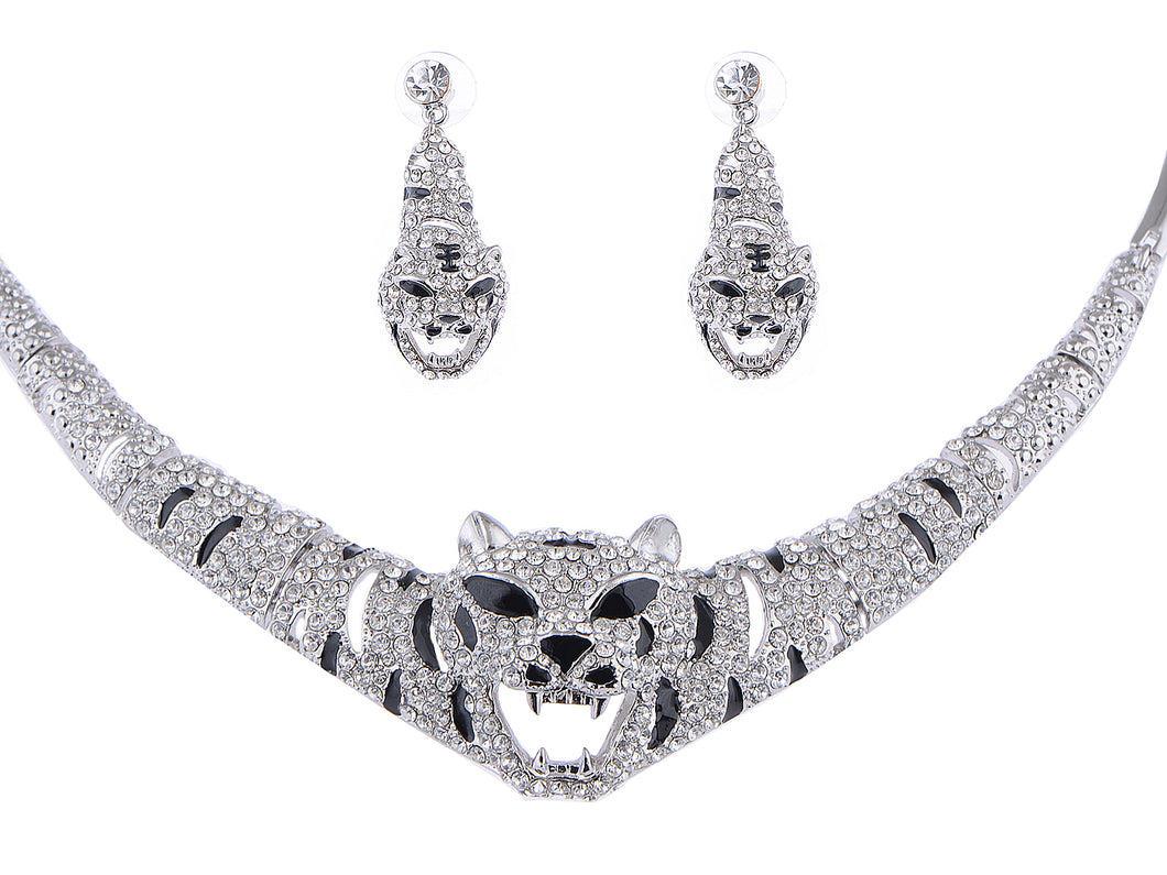 Swarovski Crystal Emerald Eye Striped Tiger Earring Necklace Set