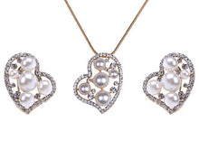 Load image into Gallery viewer, Pearl Lopsided Anniversary Heart Necklace Earring Set