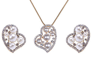 Pearl Lopsided Anniversary Heart Necklace Earring Set