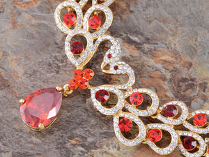 Swarovski Crystal Ruby Red Swan Lover Valentine Necklace Earring Jewelry Set