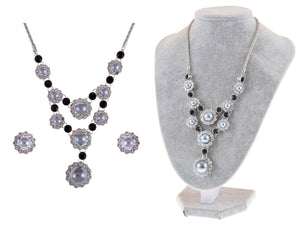Swarovski Crystal Black Grey Pearl Sunflower Victorian Necklace Earring Set
