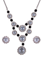 Load image into Gallery viewer, Swarovski Crystal Black Grey Pearl Sunflower Victorian Necklace Earring Set