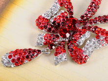 Load image into Gallery viewer, Swarovski Crystal Ruby Garnet Red Christmas Bow Ribbon Tie Necklace Earring Set