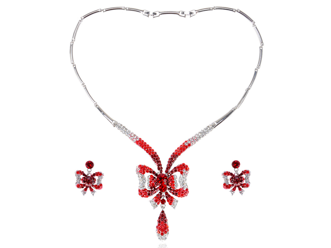 Swarovski Crystal Ruby Garnet Red Christmas Bow Ribbon Tie Necklace Earring Set