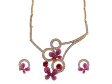 Load image into Gallery viewer, Swarovski Crystal Pink Fuchsia Butterfly Abstract Necklace Earring Set