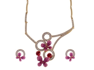 Swarovski Crystal Pink Fuchsia Butterfly Abstract Necklace Earring Set