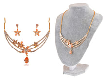 Load image into Gallery viewer, Swarovski Crystal Topaz Star Flower Necklace Earring Set