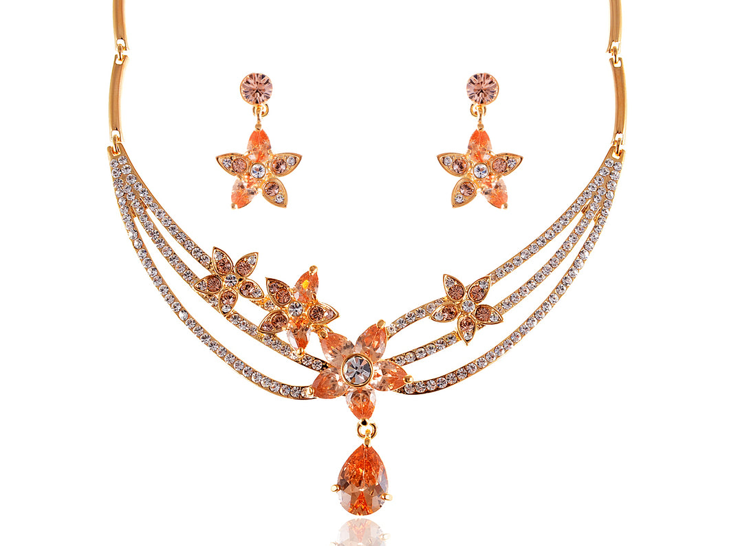 Swarovski Crystal Topaz Star Flower Necklace Earring Set