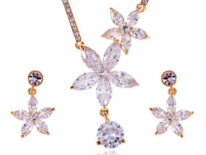 Swarovski Crystal Classic Hawaiian Floral Flower Necklace Earrings Set
