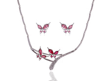 Load image into Gallery viewer, Swarovski Crystal Pink Rose Butterfly Love Duo Necklace Earring Set